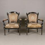 Ebonized Gildwood Louis XVI Armchairs
