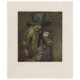"""Ernst Fuchs """"Jakob Und Joseph"""" Etching, 1976"""