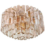 "J. T. Kalmar Large ""Palazzo"" Ice Glass Chandelier Flush Mount"