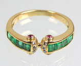 18K Gold, Sapphire, Emerald and Diamond Ring, 1990s