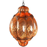 Italian Cage Art Glass Pendant Lamp by Seugso