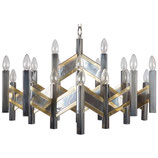 Gaetano Sciolari Huge Italian Chrome Brass Twenty-One-Light Chevron Chandelier