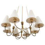 1 of 14 Huge Mid Century Brass Chandelier Model Globus 1069 by Rupert Nikoll