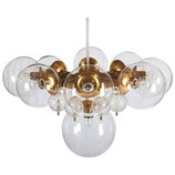 Stunning Large Brass Chandelier with Crystal Globesme