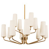Huge Midcentury Brass Opal Glass Chandelier by Rupert Nikoll