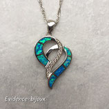 Collier coeur opale bleu
