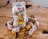 Le lot : Un fagot de 5 buchettes et 5 grelots aux noix et 5 grelots au piment et à l'anis
