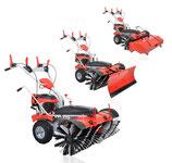 Benzin-Kehrmaschine mit E-Starter, Motorbremse, Schneeschieber und Auffangbehälter MK 100