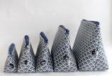 Kosmetiktäschchen Art Deco Pfauen dunkelblau in verschiedene Größen