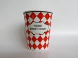 """Espressotasse, rot mit Karomuster """"Home Sweet Home"""", Werner Voss"""