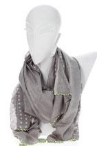 Schal grau mit verschiedenen Punkten und neon gelber Umrandung