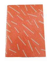 Notizheft A5 orange mit beigen Streifen