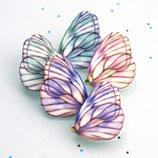 Schmetterling Brosche, weiß-rosa, weiß-grün, Schmetterlinge, Zeichnung Falter, Papillon Brosche