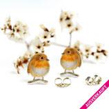 • VERKAUFT • Rotkehlchen,  Mini-Ohrringe, Rotkehlchen Ohrringe