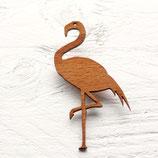 Grosse Flamingobrosche aus Holz, Lasercut-Schmuck, Holzbrosche