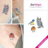 • AUSVERKAUFT • Vogel Tattoos, Mini-Tattoos, Rotkehlchen, Meise, Uhu, Tattooset Vögel, Tattoo