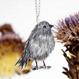 Vogelkette, Piepmatz Kette, Silberkette Vogel, flauschig, dicker Vogel, Vogelschmuck, schwarz-weiß, Geburtstagsgeschenk