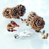 Brosche Streifenhörnchen, Tierbrosche, Zeichnung, Ansteckbrosche, Streifenhörnchen