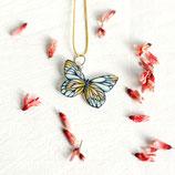 Schmetterling Kette, gelb-blau-weiß, Schmetterling