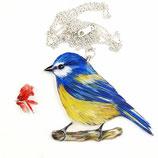 Blaumeise, grosser Kettenanhänger, Vogelanhänger, Blaumeisen, Silberkette, XL Anhänger