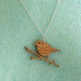 Holzkette Vogel, Vogelanhänger, Vogelkette, Lasercut Vogel, Schmuckstück mit Vogel, Vogel auf Ast Drossel, Vogel Ast,