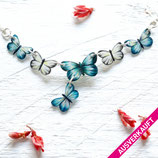• VERKAUFT • Schmetterlinge kette, Collier, Schmetterlingcollier, Silberkette Schmetterlinge