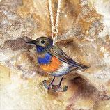 Blaukehlchen Kette,  Buntstiftzeichnung Vogel, fraufischers Halskette Vogel, Kette Singvogel