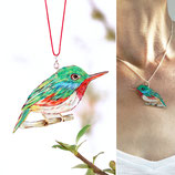 Halskette Vogel, Todi, Vogelanhänger, grün, rot