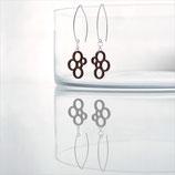 Geometrische Ohrringe, Silber, Holz, Ringe