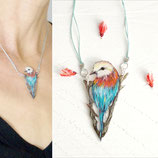 Gabelracke, Halskette, Unikat 40, Vogel Kette, Vogelzeichnung