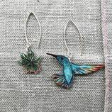 • VERKAUFT • Kolibri Ohrringe, Kolibri Beeren, Vogelschmuck, 925er Silberohrringe