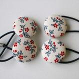 紺&赤の小花柄のヘアゴム