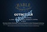 """Gutschein für eine Champagnerverkostung von """"Hablé"""", 1 Person"""