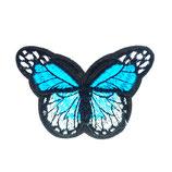 Patch Schmetterling  blau-weiß / 6,5x4,2cm