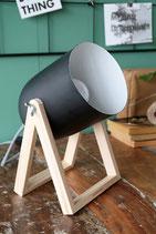 Studiolampe / schwarz  / Holz und Metall / E27 / 230V