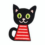 Patch Katze rot-schwarz 6x4cm