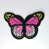 Patch Schmetterling pink-schwarz  /7x4,5cm