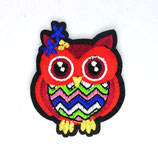 Patch Eule rot 6x5cm