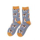 Socken  Damen Beagle  graublau/senfgelb