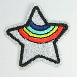 Patch Stern silber, Regenbogen
