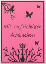 """Klappkarte """"Beileid"""" pink"""