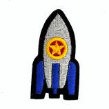 Patch Rakete  / gelber Stern 8x4cm