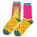 Damensocken Leopard gelb/pink