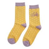 Socken  Damen mit Fahrrad gelb/gepunktet