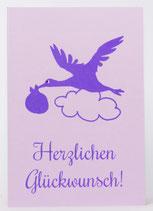 """Klappkarte """"Storch"""" violett"""