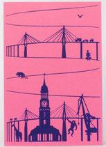 "Klappkarte ""Skyline"" pink"