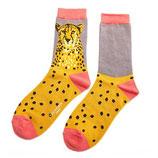 Damensocken Leopard gelb/grau