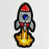 Patch Rakete mit Feuer 8x4cm