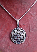 Silberanhänger Blume des Lebens mit Kette
