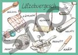 Postkarte Lëtzebuergesch Gegenstände 1